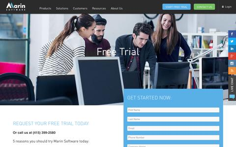 Screenshot of Trial Page marinsoftware.com - Free Trial | Marin Software - captured Nov. 18, 2015