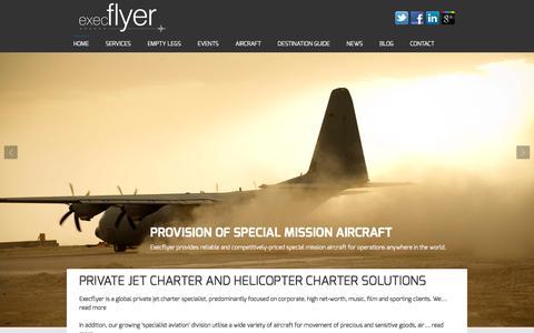 Screenshot of Home Page execflyer.com - Private Jet Charter & Specialist Aircraft Charter | Execflyer - captured Nov. 11, 2016