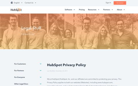 Screenshot of Privacy Page hubspot.com - Privacy Policy - captured Dec. 21, 2017