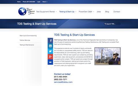 Screenshot of Services Page technicaldiagnostic.com - Testing & Start-Up «  Technical Diagnostic Services - captured Nov. 5, 2014