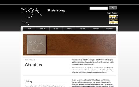 Screenshot of About Page bisca.co.uk - Custom built staircases | Bisca Timeless Design - captured Oct. 5, 2014