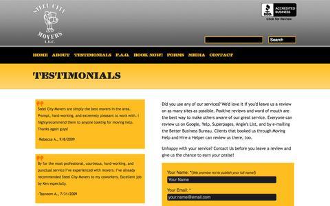 Screenshot of Testimonials Page steelcitymovers.com - Testimonials | Steel City MoversSteel City Movers - captured Oct. 7, 2014