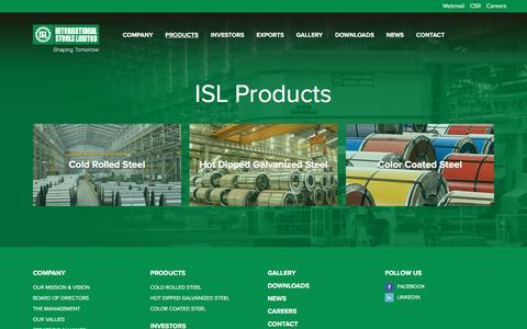 Screenshot of Products Page isl.com.pk - International Steels Limited | Products - captured Feb. 11, 2016