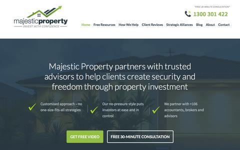 Screenshot of Home Page majesticproperty.com.au - Property Investment, Investment Properties, Retirement, Melbourne - captured Dec. 21, 2015