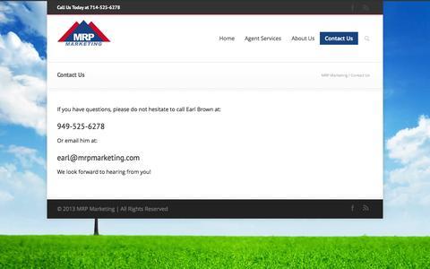 Screenshot of Contact Page mrpmarketing.com - MRP Marketing   –  Contact Us - captured Sept. 30, 2014