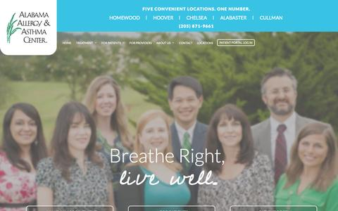 Screenshot of Home Page alabamaallergy.com - Alabama Allergy & Asthma Center: Diagnosis and Treatment for Allergies and Asthma - captured Sept. 10, 2015