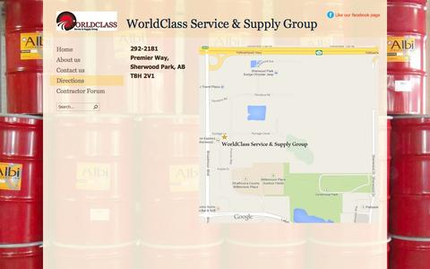 Screenshot of Maps & Directions Page worldclassservice.ca - Directions - captured Oct. 7, 2014