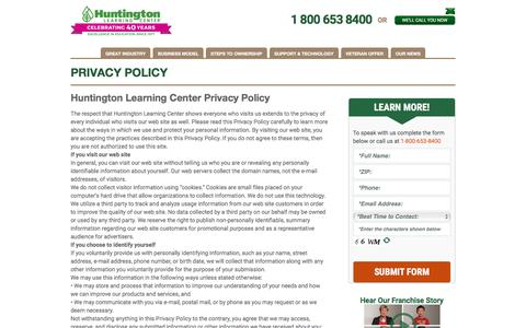 Screenshot of Privacy Page huntingtonfranchise.com - Huntington Learning Center Privacy Policy   Huntington Franchise - captured Aug. 14, 2017