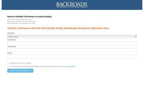 Screenshot of Landing Page backroads.com - MyBackroads - Detailed Itinerary - captured Nov. 2, 2016
