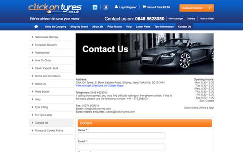 Screenshot of Contact Page clickontyres.co.uk - Click On Tyres | Contact Us - captured Sept. 30, 2014