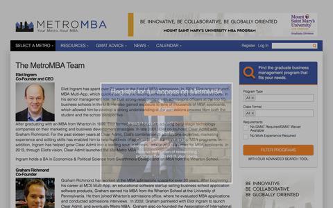 Screenshot of Team Page metromba.com - The MetroMBA Staff | MetroMBA - captured Sept. 20, 2018