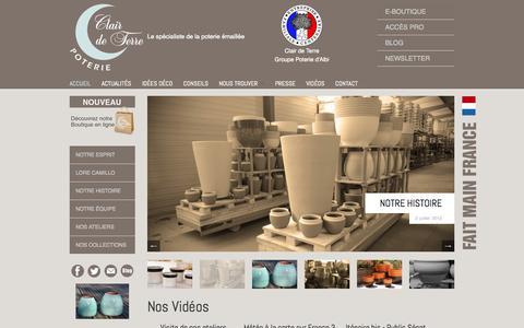 Screenshot of Home Page clair-de-terre.fr - Accueil : Clair de Terre - Créateur de poteries artisanales - captured Oct. 2, 2014