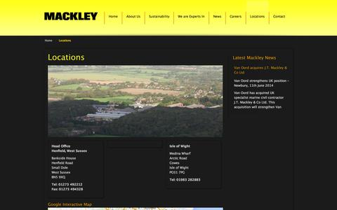 Screenshot of Locations Page mackley.co.uk - Locations   Mackley - captured Sept. 30, 2014