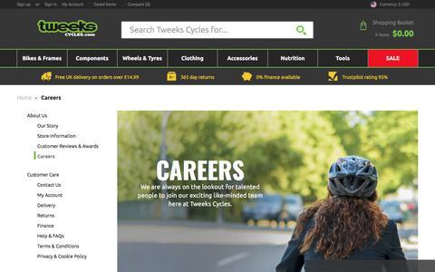 Screenshot of Jobs Page tweekscycles.com - Careers | Tweeks Cycles - captured Sept. 23, 2018