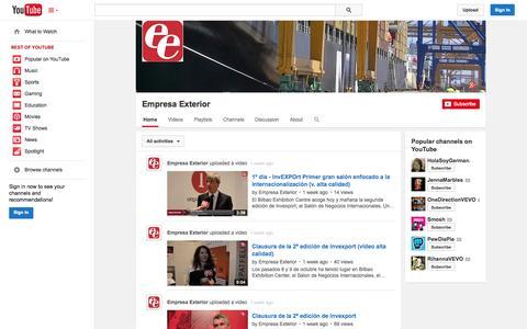 Screenshot of YouTube Page youtube.com - Empresa Exterior  - YouTube - captured Oct. 22, 2014