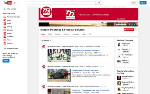 Screenshot of YouTube Page youtube.com - Massive Insurance & Financial Services  - YouTube - captured Nov. 3, 2014