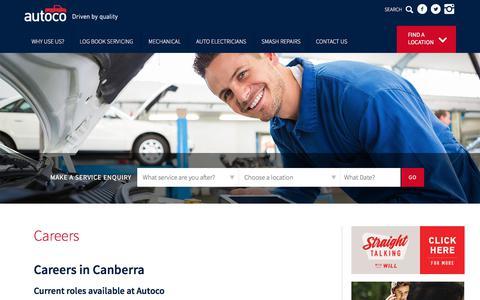 Screenshot of Jobs Page autoco.com.au - Careers - captured July 31, 2018