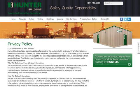 Screenshot of Privacy Page hunterbuildings.com - Privacy Policy | Custom Modular Blast Resistant Buildings Hunter Buildings - captured July 24, 2018