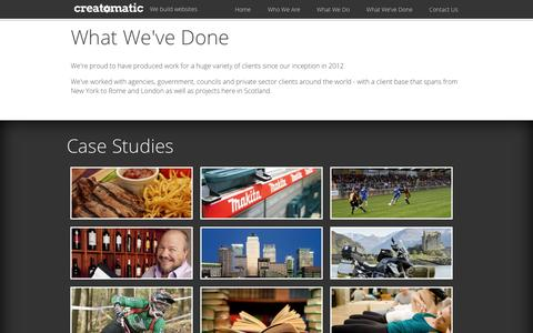 Screenshot of Case Studies Page creatomatic.co.uk - What We've Done: Case Studies and Clients - Creatomatic Ltd - captured Sept. 30, 2014