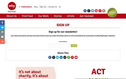 Screenshot of Signup Page whyhunger.org - Sign Up - captured Oct. 22, 2017