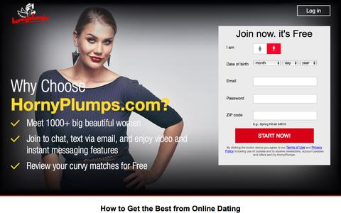 Screenshot of Home Page hornyplumps.com - Horny Matches, Horny Chat, BBW Women & Plus Size Dating - captured Feb. 13, 2016
