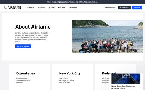 Screenshot of About Page airtame.com - Simon says… - captured Nov. 8, 2019