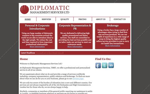 Screenshot of Home Page diplomatics.co.uk - Diplomatic Management Services Ltd. - Business Introduction, PR & Brokerage - captured Oct. 5, 2014