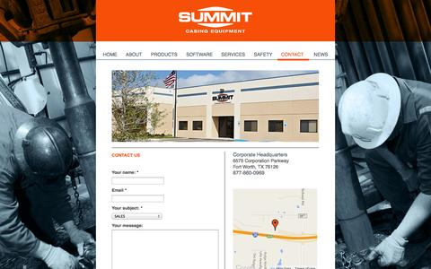 Screenshot of Contact Page summitcasing.com - Contact Us | Summit Casing - captured Oct. 6, 2014