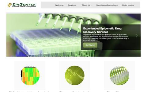 Screenshot of Services Page epigentek.com - Epigenetic Services   Comprehensive Epigenetic Services - captured Nov. 9, 2016