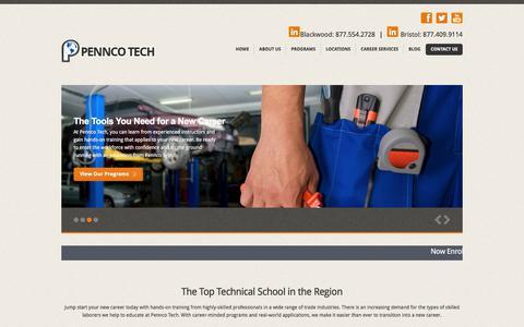 Screenshot of Home Page penncotech.edu - The #1 Vocational School in Bucks County, PA & Camden County, NJ | Pennco Tech | www.penncotech.edu - captured July 16, 2018