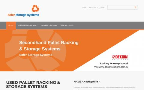 Screenshot of Home Page saferstoragesystems.com.au - Safer Storage Systems Pallet Racking | New Warehouse Storage Solutions - captured Oct. 1, 2018
