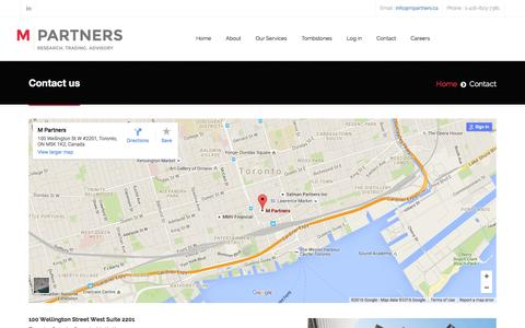 Screenshot of Contact Page mpartners.ca - Contact - captured Feb. 2, 2016