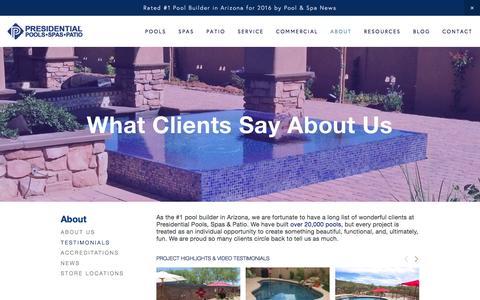 Screenshot of Testimonials Page presidentialpools.com - Testimonials & Reviews — Presidential Pools, Spas & Patio of Arizona - captured Dec. 22, 2016