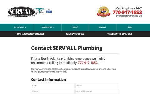 Screenshot of Contact Page servallplumbing.com - 770.917.1852   Contact SERV'ALL Plumbing   SERV'ALL Plumbing - captured Oct. 1, 2018
