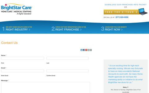 Screenshot of Contact Page brightstarcare.com - BrightStar Senior Care/Home Care FranchiseContact Us | BrightStar Care - captured Sept. 23, 2014