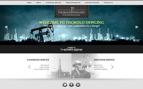 Screenshot of Home Page thorolddewling.com - Oil and Gas Recruitment Agency, Oil Rig Recruitment, UK - captured Oct. 9, 2014