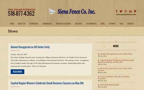 Screenshot of Press Page sienafence.com - View News From Siena Fence - captured Oct. 9, 2014