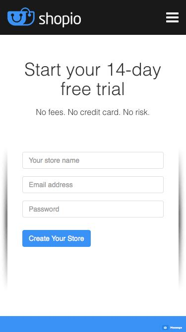 Screenshot of Trial Page  shopio.com - Start Your Free Trial | Shopio