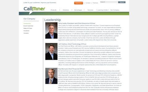 Screenshot of Team Page callminer.com - CallMiner Leadership - captured July 19, 2014