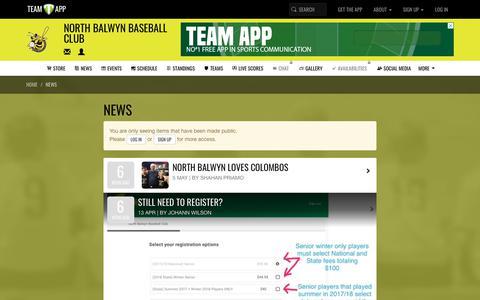 Screenshot of Press Page teamapp.com - News   North Balwyn Baseball Club - captured Oct. 23, 2018