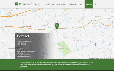 Screenshot of Contact Page rubinfortunato.com - Contact | Rubin, Fortunato & Harbison P.C. | Paoli, Pennsylvania - captured Oct. 23, 2017