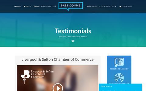Screenshot of Testimonials Page base-communications.co.uk - Client Testomonials - Communications products & Support - Base Comms - captured Nov. 13, 2018