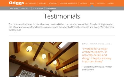 Screenshot of Testimonials Page griggsbuilding.com - Testimonials   Griggs Building & Design Group - captured Oct. 22, 2018