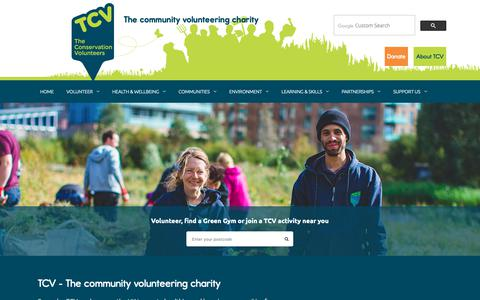 Screenshot of Home Page tcv.org.uk - TCV | The community volunteering charity - captured Oct. 19, 2018