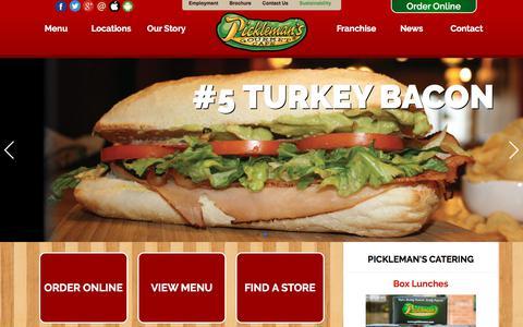 Screenshot of Home Page picklemans.com - Order Sandwiches Online | Pickleman's - captured Aug. 1, 2017