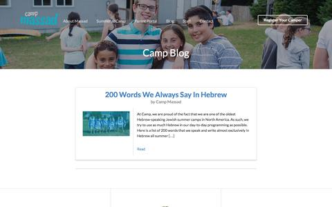 Screenshot of Blog campmassad.org - Camp Blog - Where Going To Camp Means Coming Home - captured Oct. 20, 2016