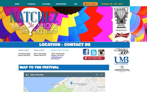 Screenshot of Contact Page Maps & Directions Page natchezballoonrace.com - Balloon Race - Location - captured Jan. 21, 2017