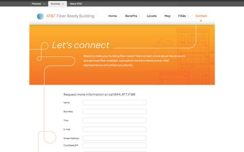 Screenshot of Landing Page att.com - Fiber Ready Building Contact Information – Building Owners | AT&T - captured Feb. 26, 2016