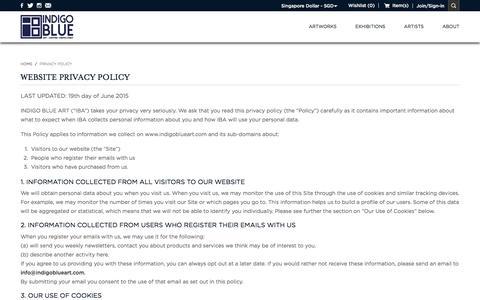 Screenshot of Privacy Page indigoblueart.com - PRIVACY POLICY - captured Nov. 26, 2016