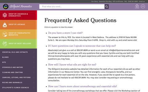 Screenshot of FAQ Page stillpointaromatics.com - Frequently Asked Questions | Stillpoint Aromatics - captured Aug. 19, 2016